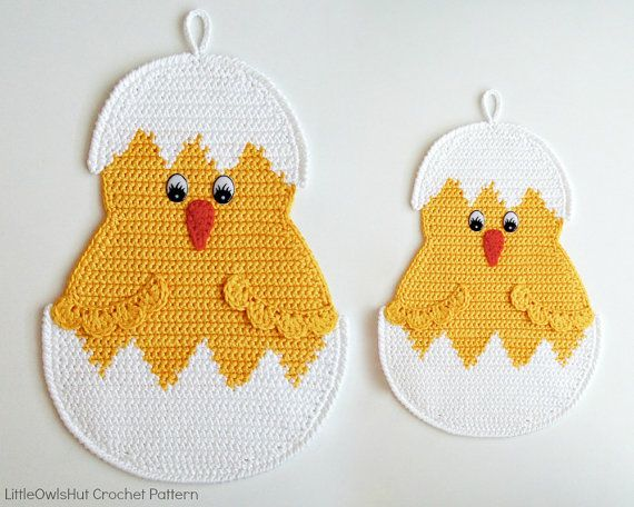 112 Crochet pattern - Little Chicken Easter decor, potholder or decorative…