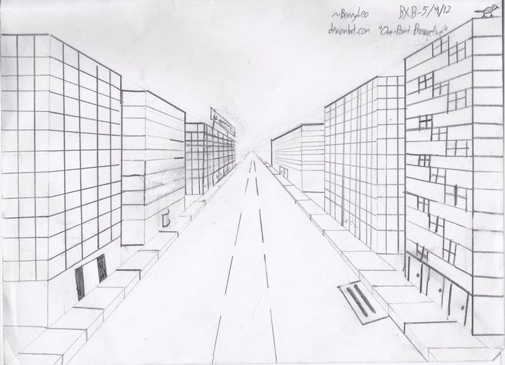 One Point Perspective Cityscape Sketch By Bennyleo On