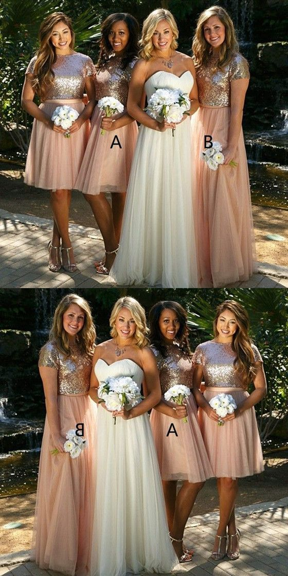 18fe8ee20ecd7 A-line Sequins Top Tulle Skirt Short Sleeves Bridesmaid Dresses, BD0524