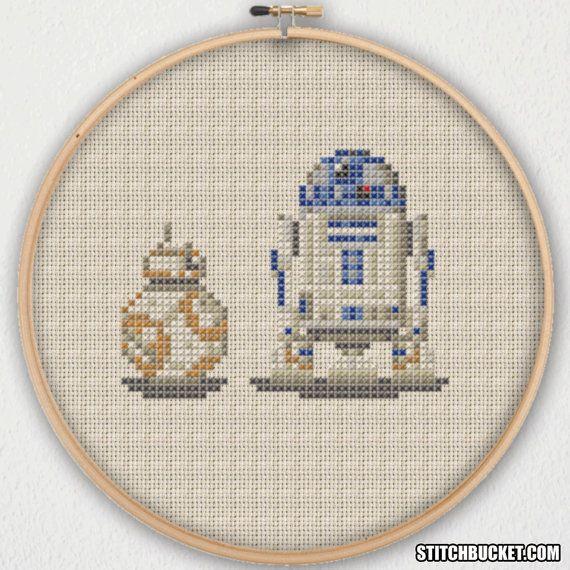 BB-8 Ball Droid and R2-D2 Star Wars Cross Stitch Pattern ...