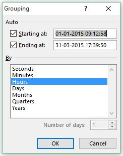 Group Dates in Pivot Tables in Excel - select hours