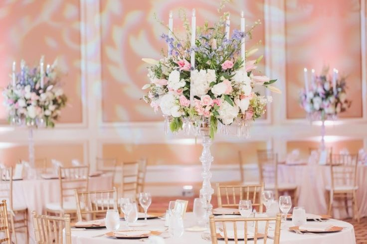 A timelessly elegant indoor ballroom reception at one of our favorite Southern California wedding venues in Los Angeles: The Langham  Pasadena. Swoon! (Michael Anthony Photography)