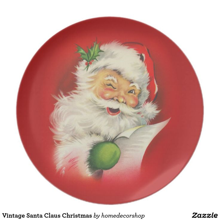 Vintage Santa Claus Christmas Melamine Plate