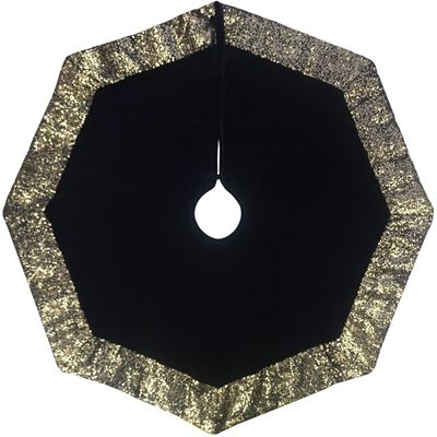 Holiday Living BLACK VELVET TREE SKIRT WITH GOLD SEQUIN BORDER