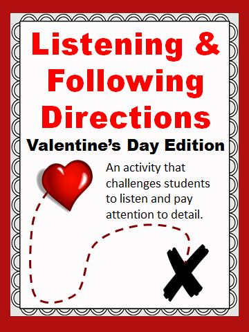 listening following directions valentine 39 s day edition reading comprehension following. Black Bedroom Furniture Sets. Home Design Ideas