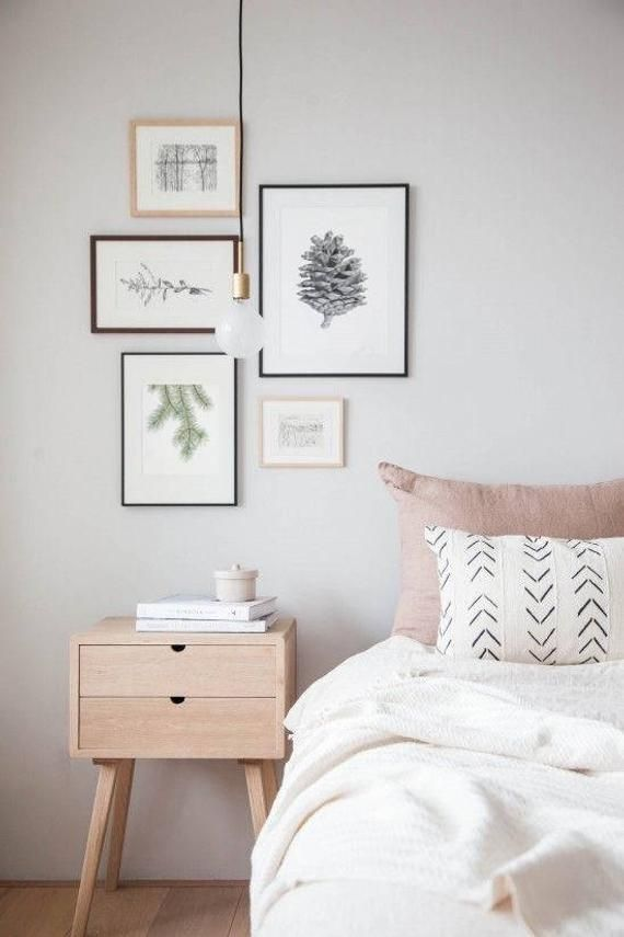 Pine Cone Print Black And White Print Pinecone Wall Art Wall Decor In Nordic Style Black And White Botanical Art Pine Cone Poster Interior Design Bedroom Simple Bedroom Bedroom Interior