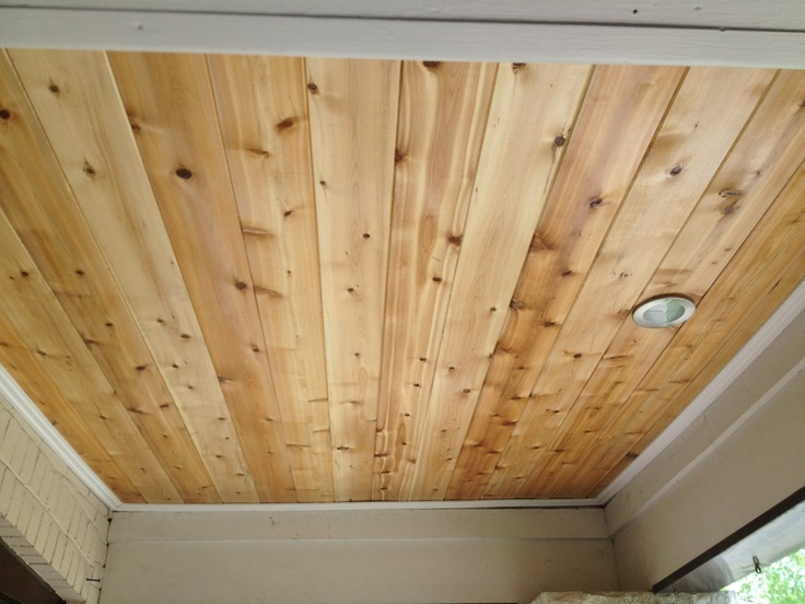 porch ceiling rejuvenation. tongue and groove cedar with one coat