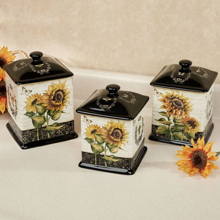French Sunflowers Kitchen Canister Set