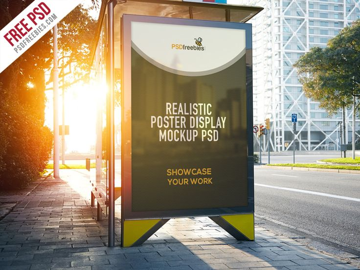 Download Realistic Poster Display Mockup Free PSD. This free mockup showcases the side panel of the bus shelter where you can add up your company's logo, special offers, or other details. You can paste here all you want poster, graffiti, sketch, your photos and other artworks with a realistic set-up and get a better look. This template is made based on the Smart Objects that are editable in the Adobe Photoshop.