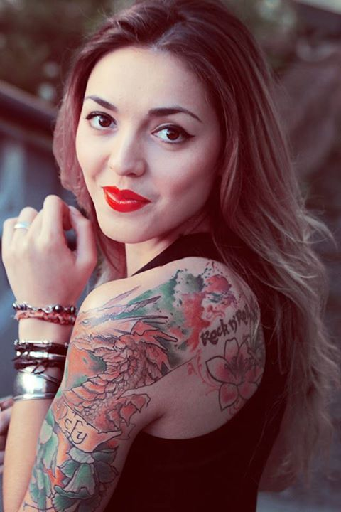 Tattoos,dragon,rock n'roll,red,smile,hair,ombre,girl,beauty,fashion