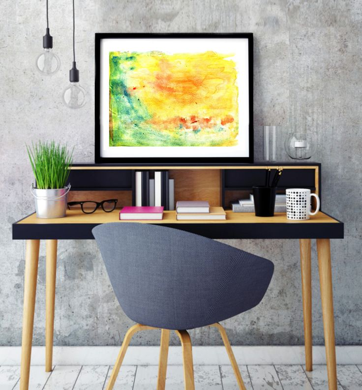 """Poster """"Spring landscape"""", Beautiful poster, Housewarming Gift, Beautiful Poster, Interior Decoration, Abstract Poster, Green, Yellow, Red by MerryGallery on Etsy"""