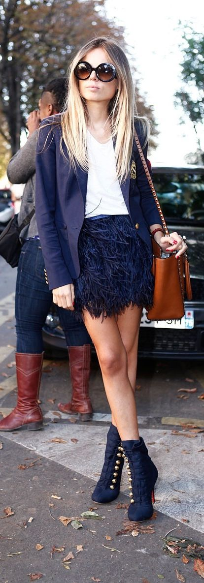 Fashion Week Inspiration: The Feather embellished mini-skirt is so perfect, i need it! Midnight blues....All glamed up street style. Amazing outfit, we want it all @ontrend.online