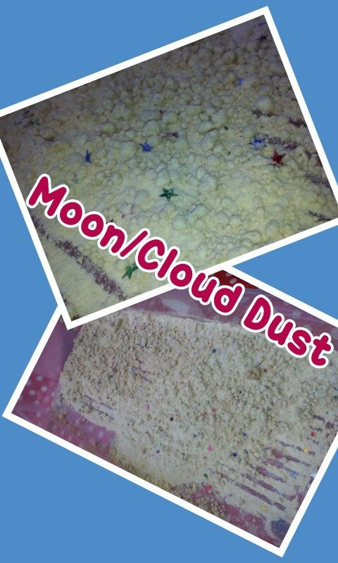 Moon/cloud dust sensory bin. Found the recipe o. Here http://www.learnplayimagine.com/2012/10/two-ingredient-multisensory-cloud-dough.html?m=1. We added pepermint oil and stars because thats what the big man likes. #sensoryplay #playmatters #invitationtoplay #learningcolours