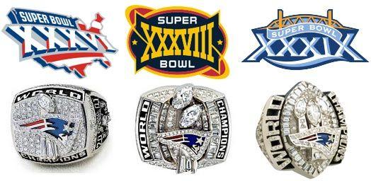 Patriots 3 Super Bowl Wallpaper | Les bagues de champions du Super Bowl