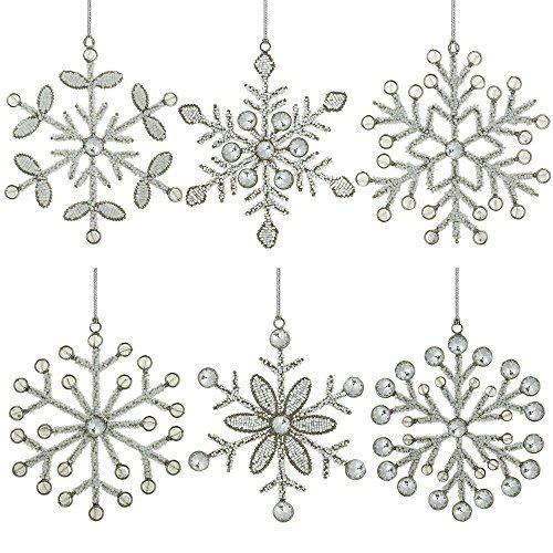 Set of 6 Handmade Snowflake Iron and Glass Pendant Party Ornaments, 6 Inches ShalinIndia http://www.amazon.com/dp/B00LSNLD04/ref=cm_sw_r_pi_dp_UCJJvb0CNH4DF