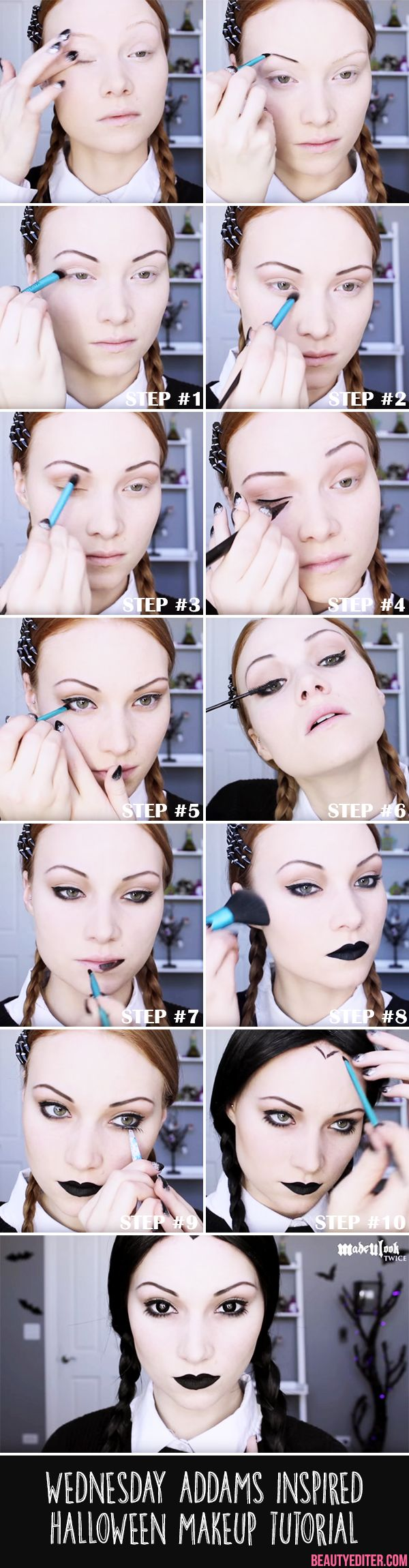 Wednesday Addams Halloween Makeup (Hair Braids Boxer)