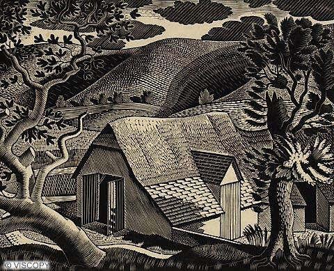 Eric Ravilious - Sussex Landscape, 1933, wood engraving