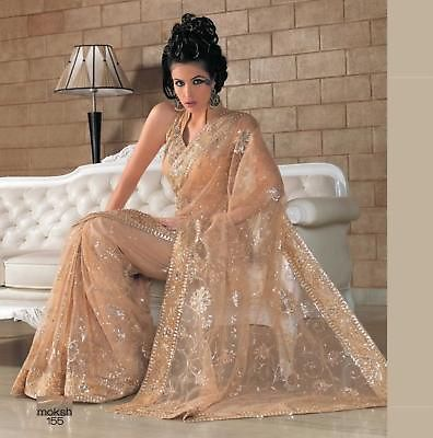 Fancy Net Bridal Bollywood Indian Designer Saree Wedding Sari Suit Partywear | eBay