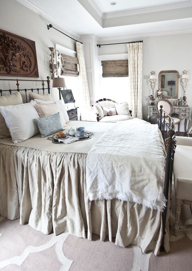 ** the whole bedroom decor ** linen-blanket-on-french-bed