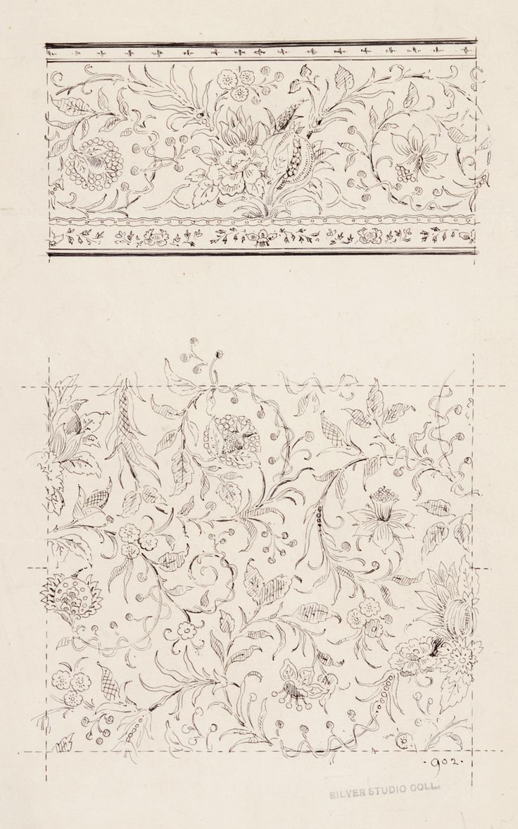 Sketch for wallpaper frieze and filling from the Silver Studio Collection at MoDA. #ColorOurCollections