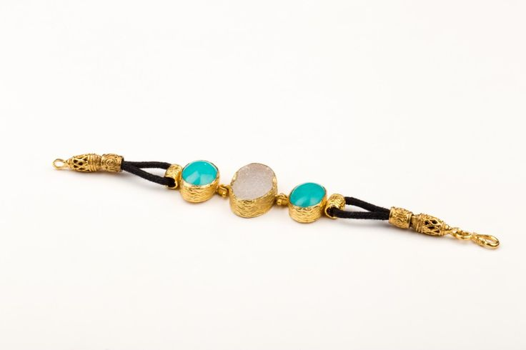 Point of View  Bracelet _Turquoise &  Chalcedony - Gold plated
