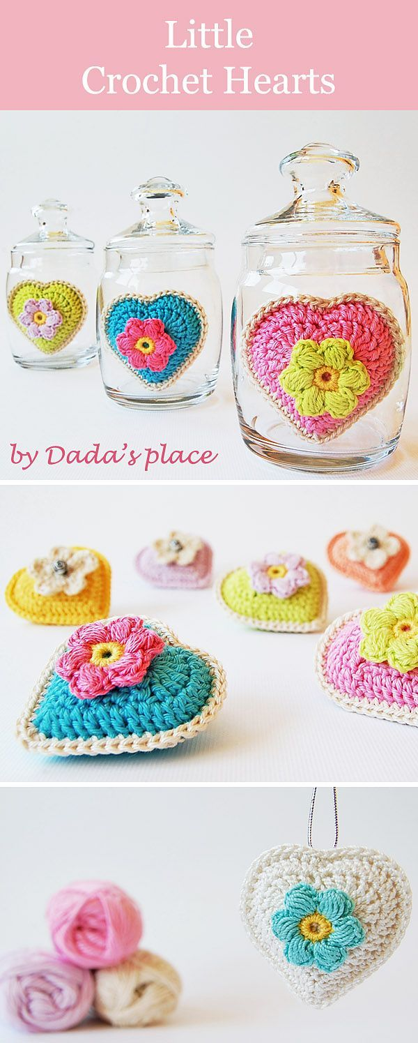 These crochet hearts are very easy and quick to make, link to the ...