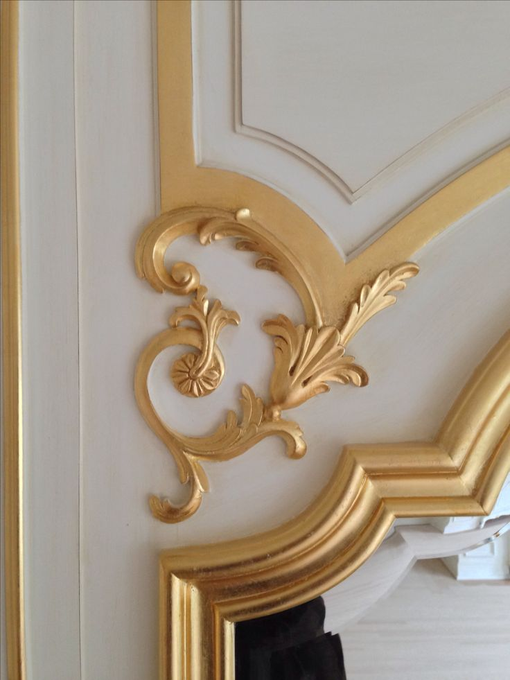 Detail of hand carved solid wood authentic boiserie dining