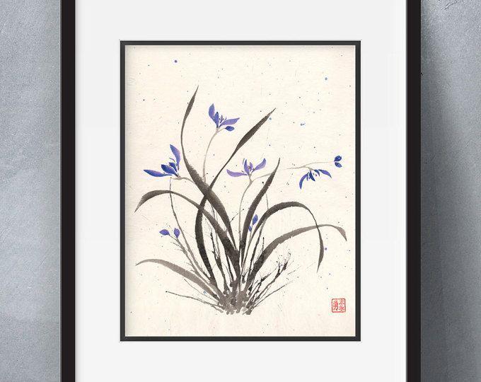 Salpicadura de orquídeas - flores sumi-e acuarela - 8 x 10 (impresión)