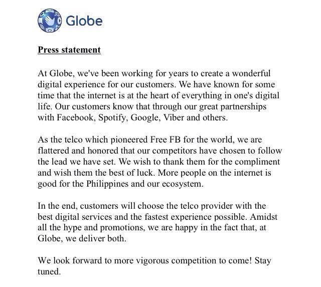 Globe Telecom brush-off Smart's Free Internet promo