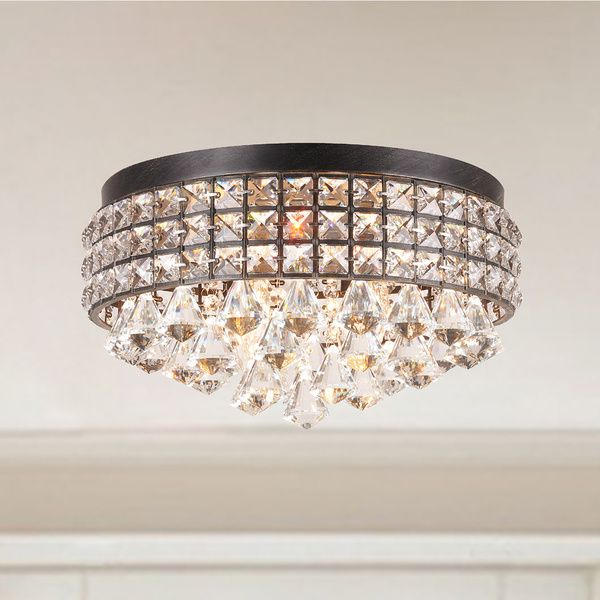 Jolie iron shade crystal flush mount chandelier