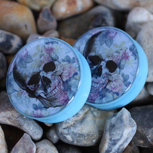 Blue Skull - Plug | UK Custom Plugs Shop for gauges, alternative fashion & body jewellery