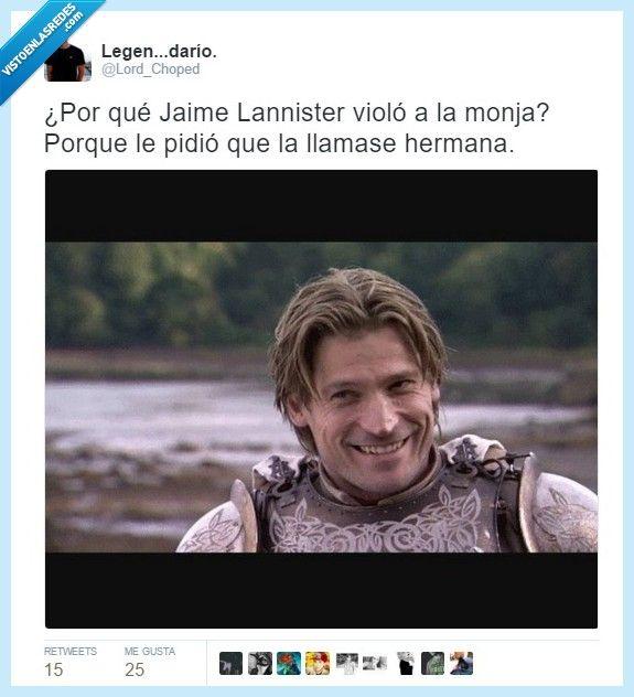 Cosas que pasan en la familia Lannister, por @Lord_Choped   Gracias a http://www.vistoenlasredes.com/   Si quieres leer la noticia completa visita: http://www.estoy-aburrido.com/cosas-que-pasan-en-la-familia-lannister-por-lord_choped/