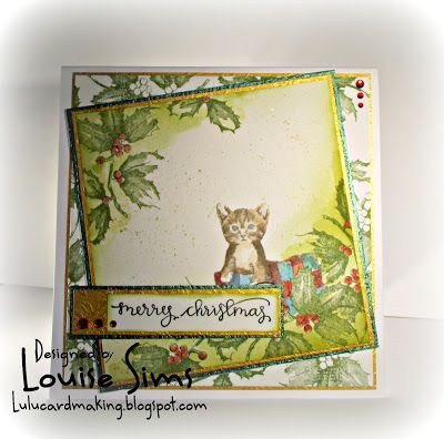 Christmas Kitten nestled in Holly & Berries. Both 3D shadowing stamps from Spellbinders.    Spellbinders 3D shading stamps ... plus blog candy ~ Louise Sims Papercrafter  #spellblogger  #spellbinders  #neverstopmaking