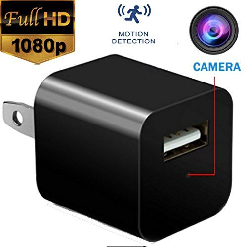 Hidden Spy Camera - USB Charger Camera - Mini Spy Camera 1080p - Security Camera Charger - Motion Detection - Hidden Cam - Nanny Cam - Spy Camera - USB Wall Charger FULL HD - Mini Hidden Camera, Spy Vision HD 1080P Wall Charger Camera/Nanny Mini Camera, Security Camera. Can Charge Phone While Recording. TWO IN ONE CHARGER & CAMERA: The USB wall charger built in 1080P HD lens, you can use it as an adapter for charging, also as a hidden camera, nobody will realized this...