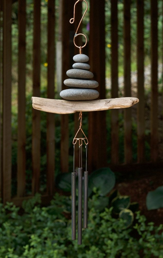 Wind Chime Driftwood Beach Stone Brass Chimes West Coast Garden Art by CoastChimes on Etsy