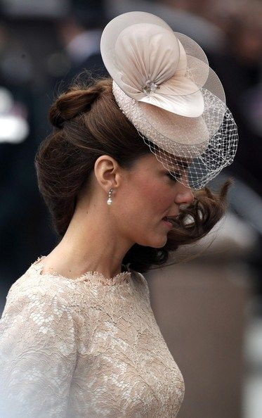 June 5, 2012 - Kate wore a hand embroidered cocktail hat for the Diamond Jubilee Service of Thanksgiving.