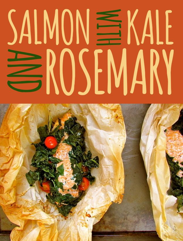salmon with kale + rosemary