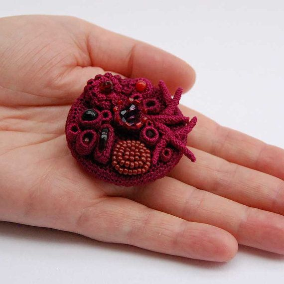 Crochet art, crochet brooch, unusual brooch, one of a kind gift, red brooch, coral collection by ELIN, blood red jewelry, baroque jewelry,