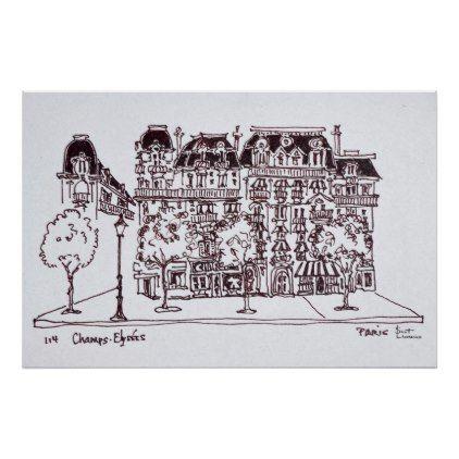 #Haussmann Architecture | Champs Elysees Paris Poster - #travel #art