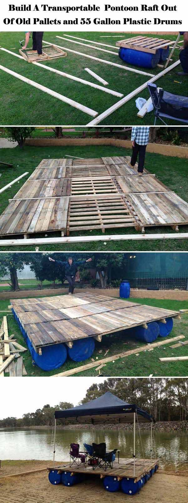 Build a Transportable Pontoon Raft Out of Pallets and 55 Gallon Plastic Drums. | Top 19 Simple and Low-budget Ideas For Building a Floating Deck