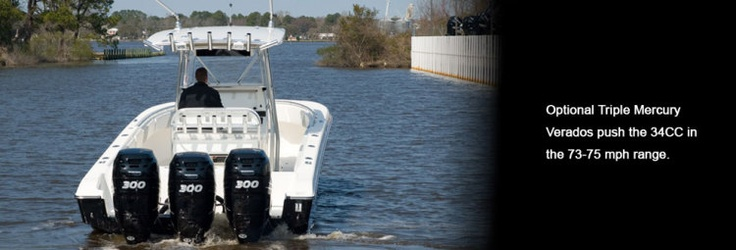 New 2012 Fountain Boats 34 Sportfish CC Open Bow Express Fisherman Boat - You will enough power to get you up to speed.