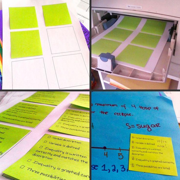 Print rubrics on post-its!
