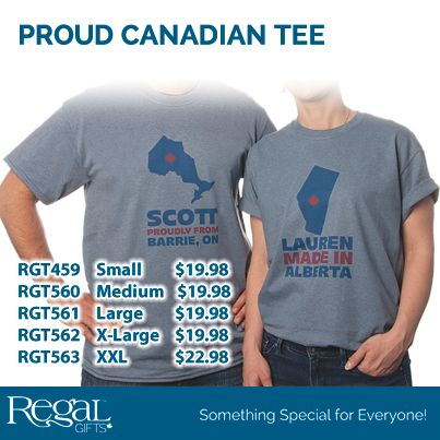 PROUD CANADIAN TEE  Proudly display your home province with these personalized tees. Made of easy care cotton/polyester. Personalization: Choose your province, plus 3 lines up to 12 characters each (size of text will depend on number of characters per line)