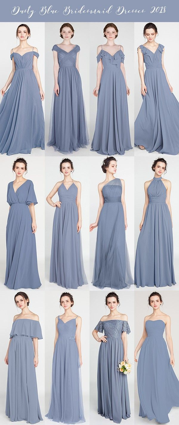 dusty blue bridesmaid dresses for 2018 trends #blueweddings #bridalparty #bridesmaiddresses
