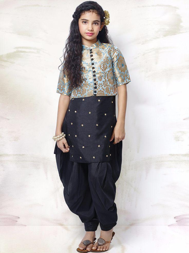 Navy Silk Wedding Wear Punjabi Suit