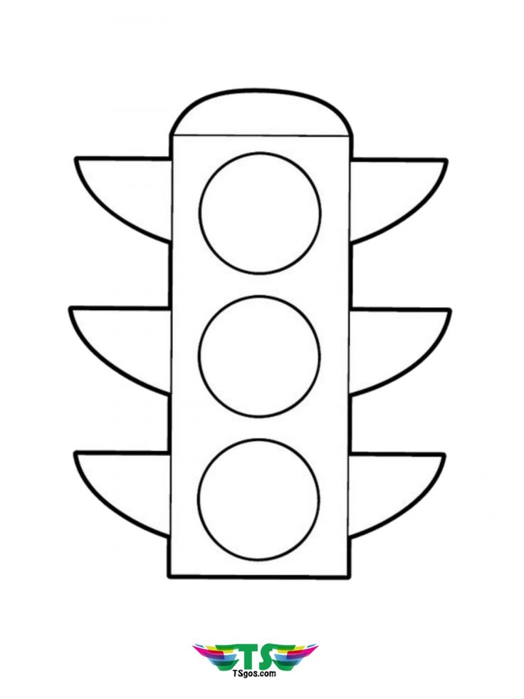 Traffic Light coloring page for kindergarten in 2020 ...