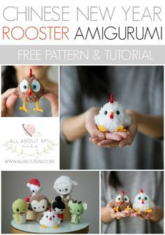 Free Rooster Amigurumi Crochet Pattern with detailed step-by-step instructions! Cute Chinese new year decoration gift to make for this year's horoscope sign
