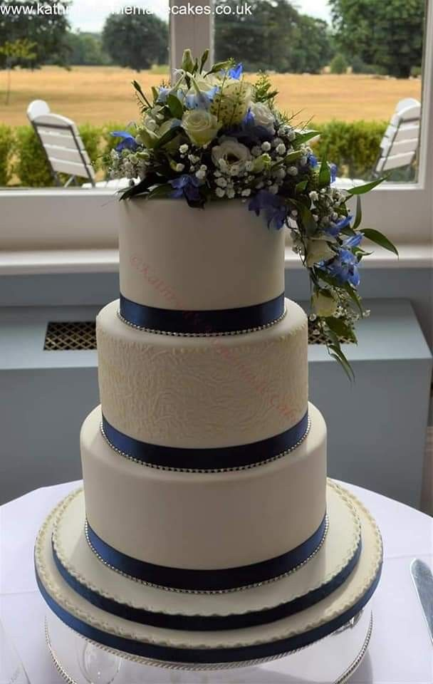3 Tier Ivory Wedding Cake With Stencilled Detail And Fresh Flowers Cake Topper Supplied By Lavenderfloris Fresh Flower Cake Wedding Cakes Flower Cake Toppers