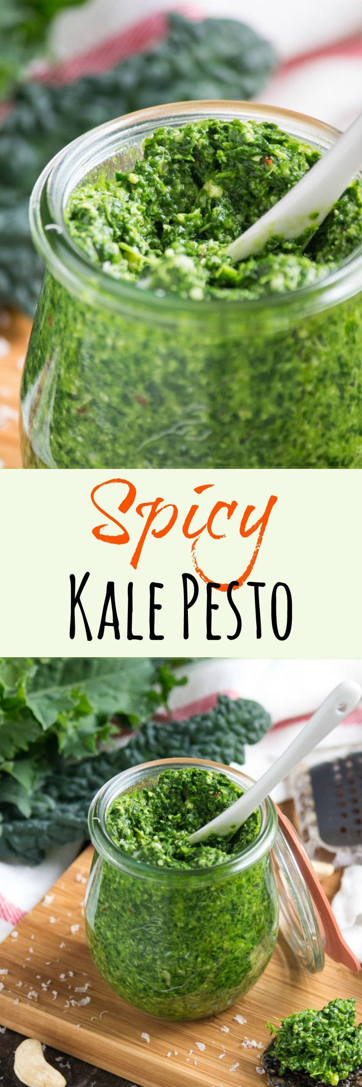 Spicy Kale Pesto.  Great stirred through pasta, served on crackers or eaten straight from the spoon.