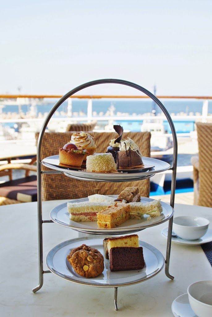 Afternoon tea at the luxury cruise ship Silver Spirit, Silversea